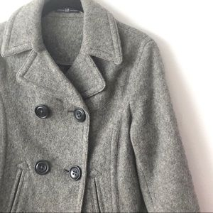 Gap Wool blend Double Breasted Gray Crop Pea Coat